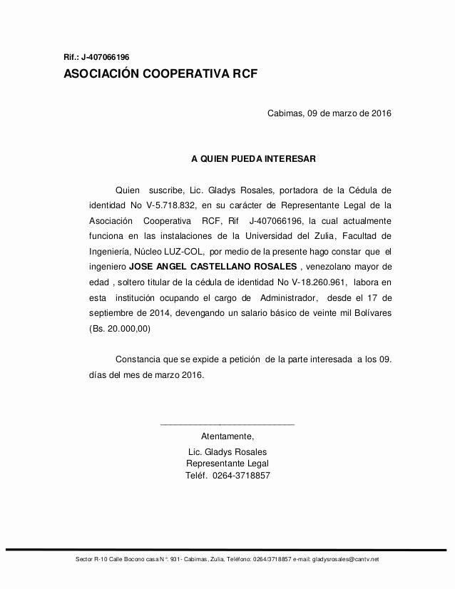 Carta De Recomendacion Para Trabajo Fresh Carta De Trabajo Cooperativa Rcf