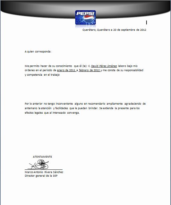 Carta De Recomendacion Para Trabajo Luxury Carta De Re Endacion Para Trabajo to Pin On