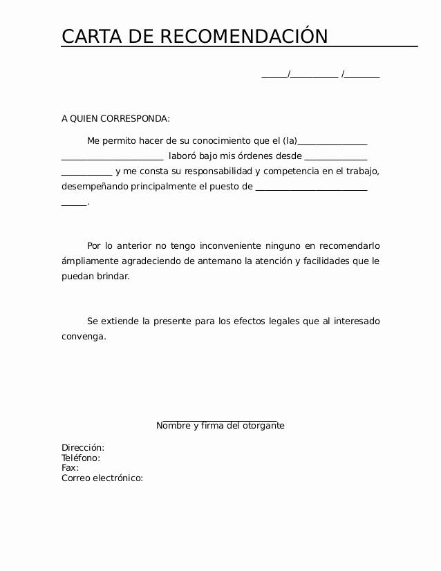 Carta De Recomendacion Para Trabajo New Carta De Re Endacion