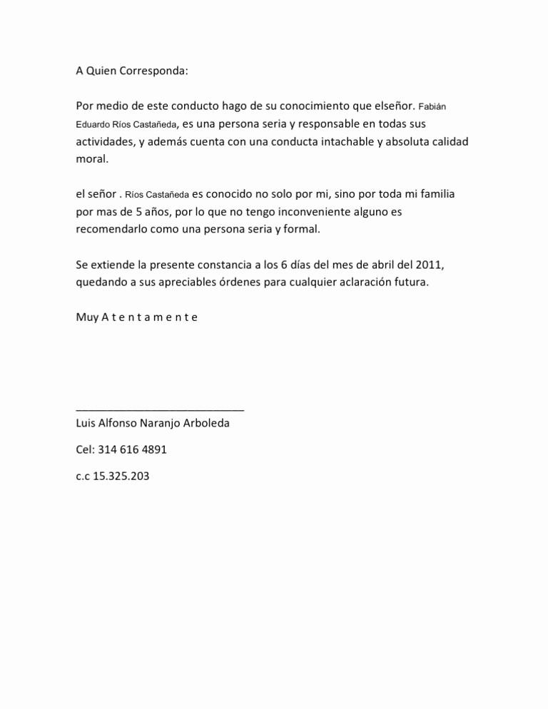 Carta De Recomendacion Para Trabajo New Resultado De Imagen Para Modelo De Carta Re Endacion