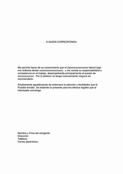 Carta De Recomendacion Para Trabajo Unique Carta De Re Endacion Fice Templates