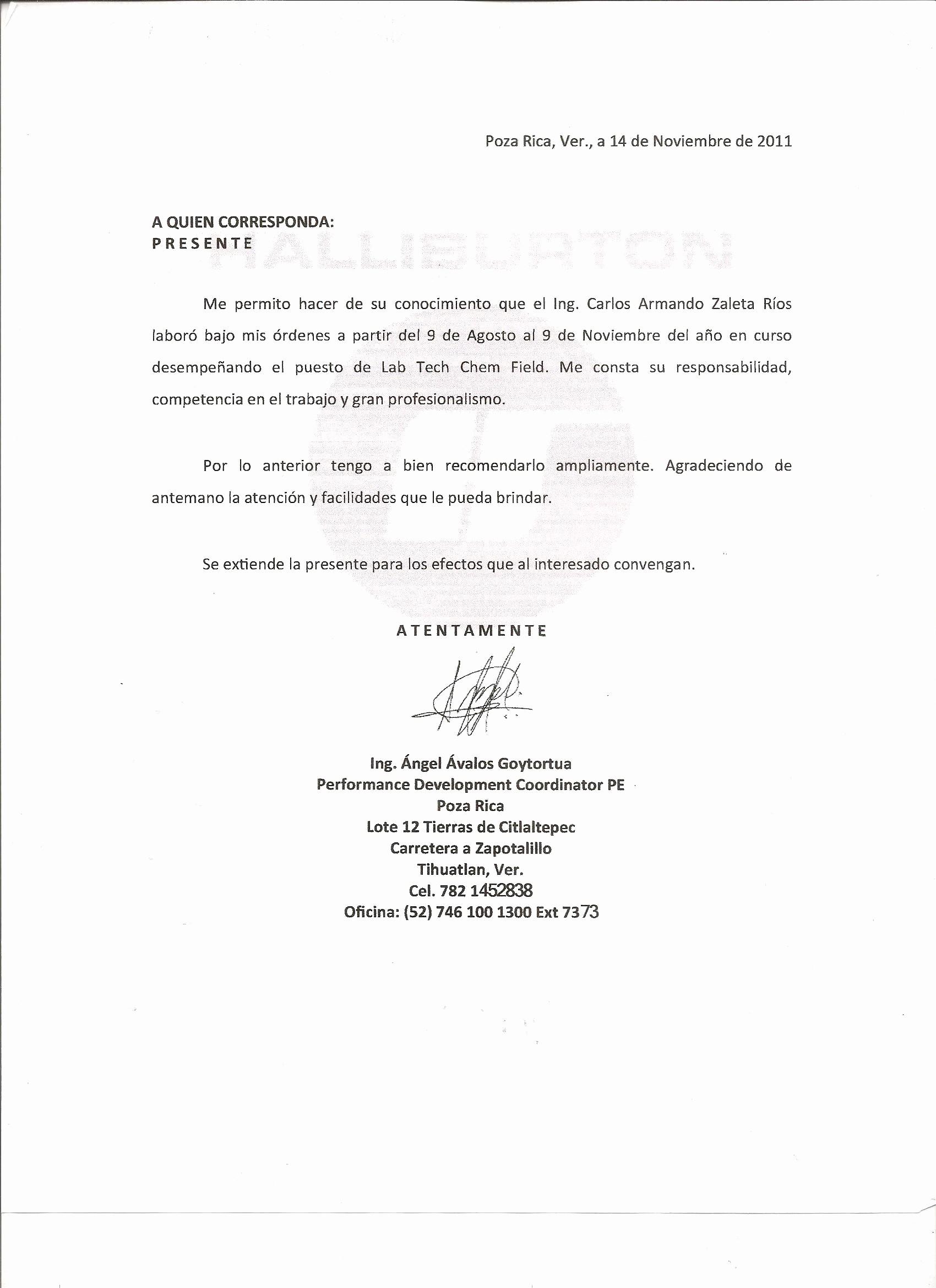 Carta De Recomendacion Para Trabajo Unique Ingcarloszaleta