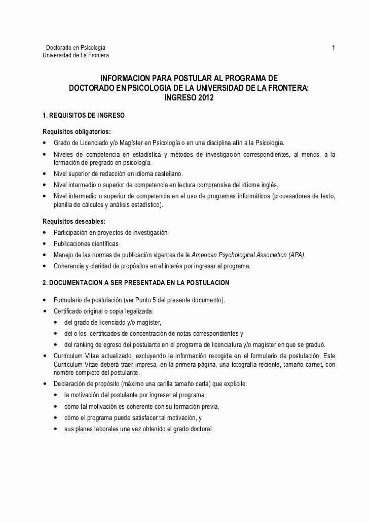 Carta De Recomendacion Para Universidad Awesome Informacion Para Postular Al Programa De Doctorado En