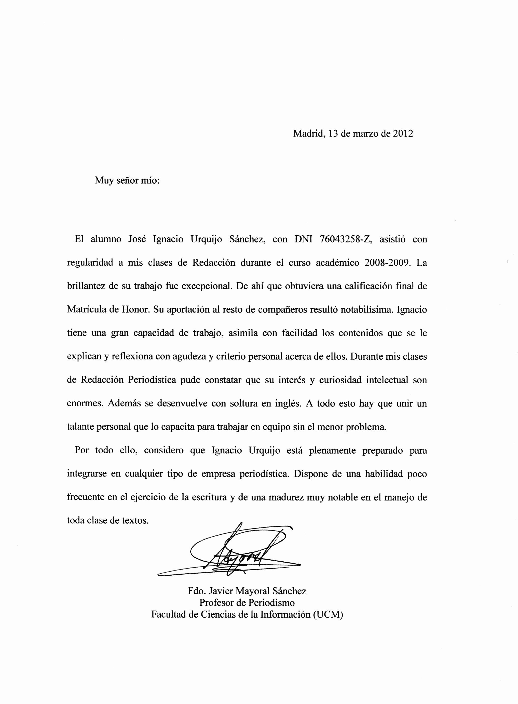 Carta De Recomendacion Para Universidad Beautiful Cartas De Re Endación Y Referencias – Ignacio Urquijo