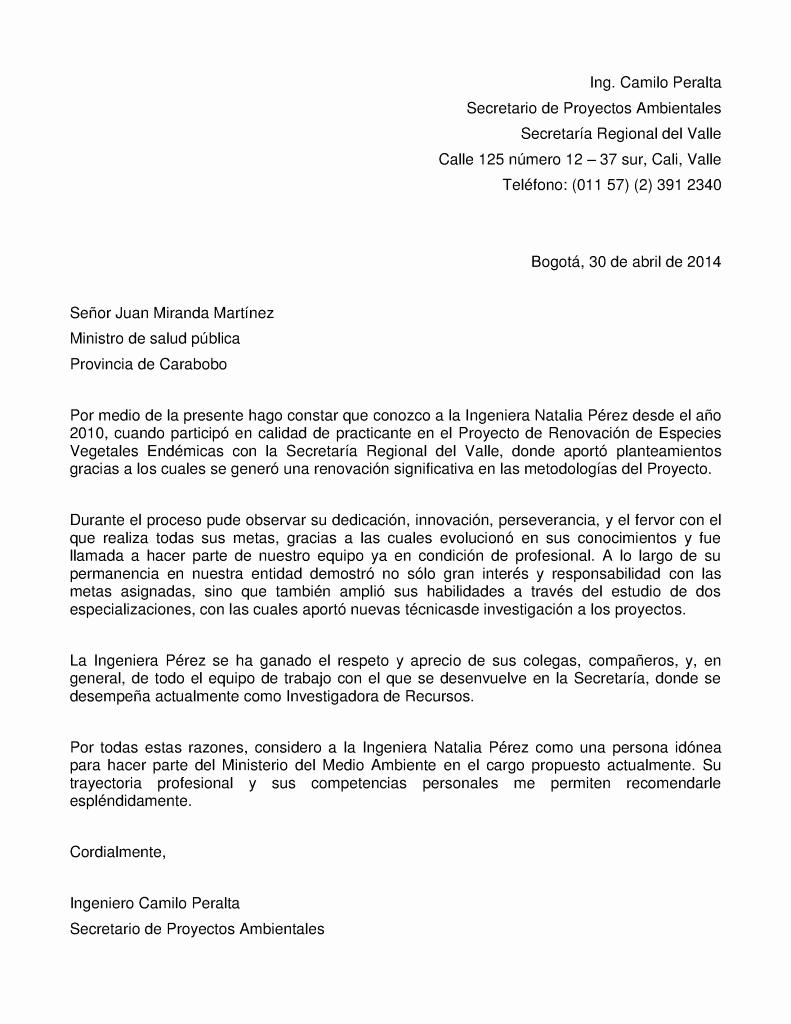 Carta De Recomendacion Para Universidad Beautiful Ejemplo De Carta De Re Endación Para Empleo Público O