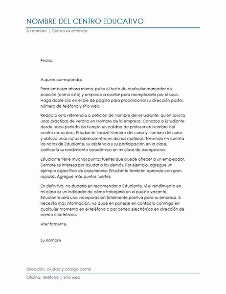 Carta De Recomendacion Para Universidad Fresh Carta De Referencia De Profesor