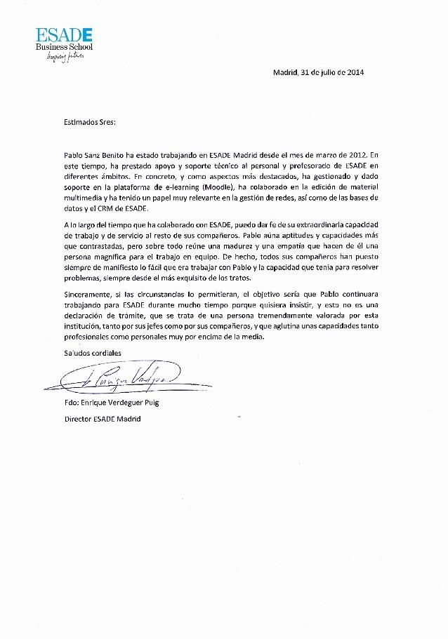Carta De Recomendacion Para Universidad Inspirational Carta De Re Endación Esade Business School
