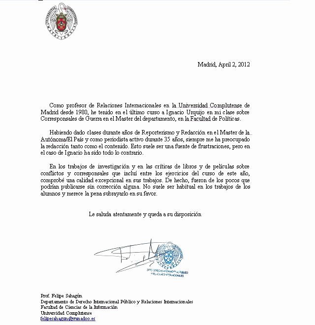 Carta De Recomendacion Para Universidad Inspirational Cartas De Re Endación Y Referencias – Ignacio Urquijo