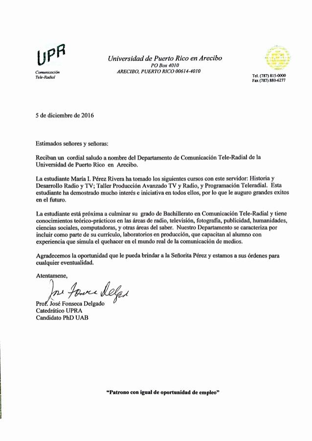 Carta De Recomendacion Para Universidad Lovely Carta De Re Endación Prof José Fonseca