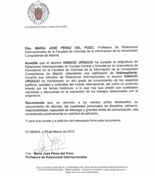 Carta De Recomendacion Para Universidad Luxury Cartas De Re Endación Y Referencias – Ignacio Urquijo