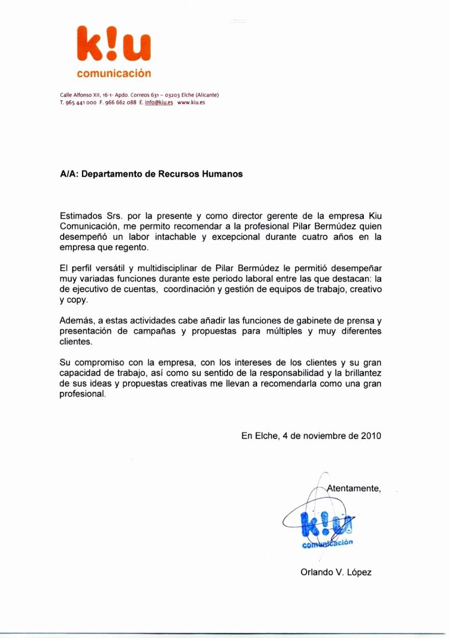 Carta De Recomendacion Para Universidad New Re Endaciones – Pilar Bermudez