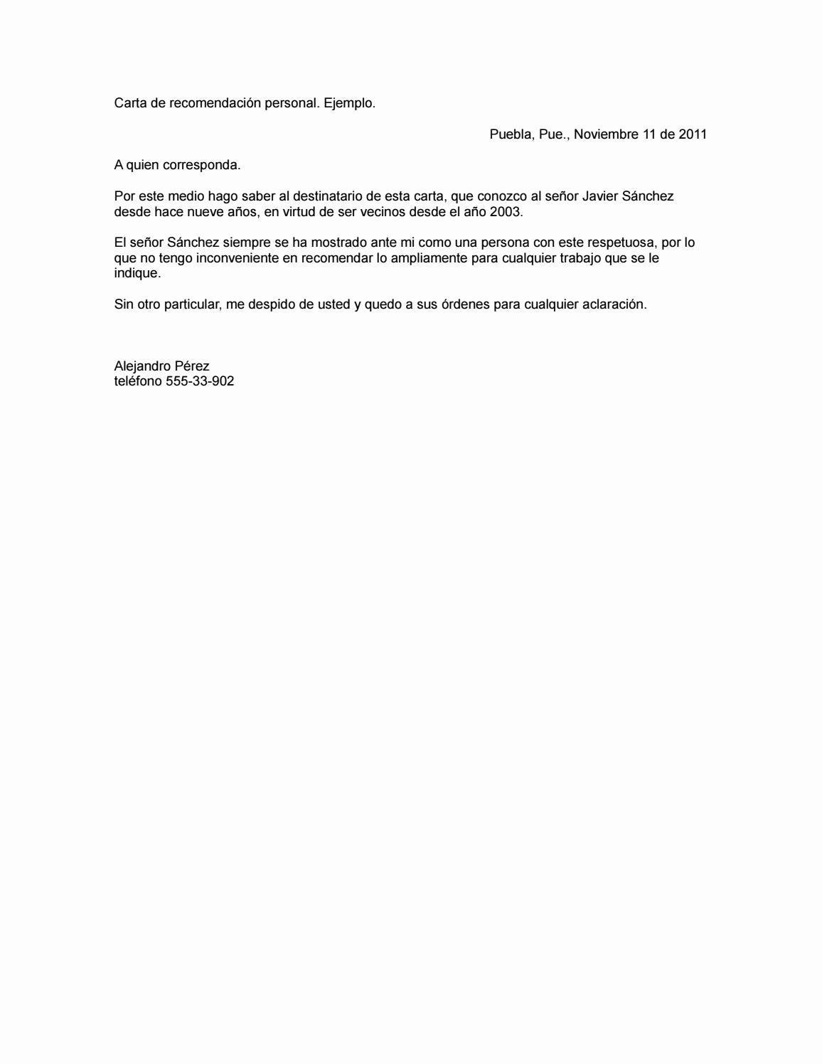 Carta De Recomendacion Personal Ejemplo Elegant Carta De Re Endacion Personal by Jeniffer tobar issuu