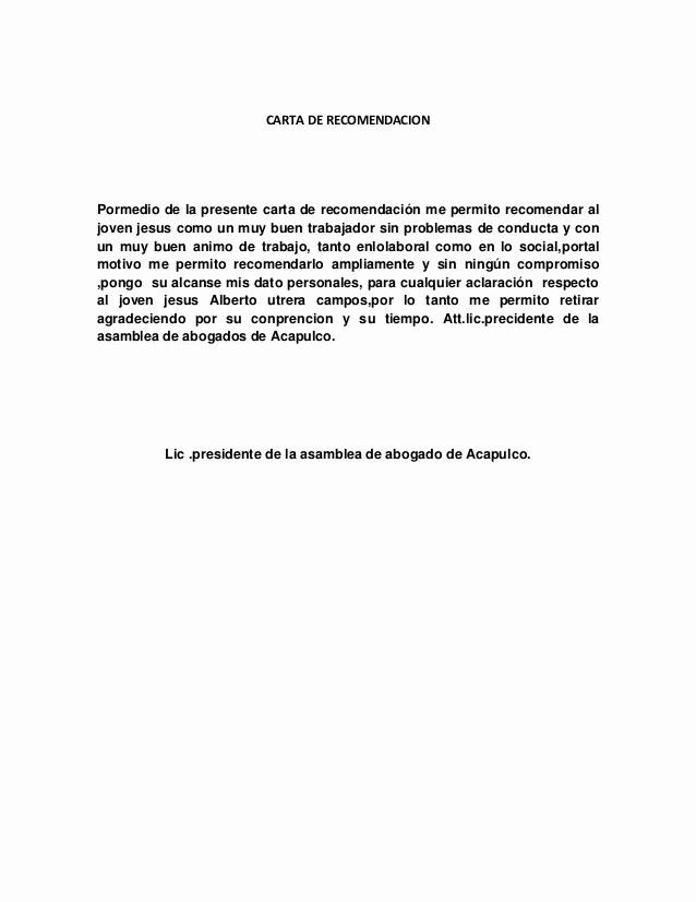 Carta De Recomendacion Personal Ejemplo Fresh Carta De Re Endacion 2