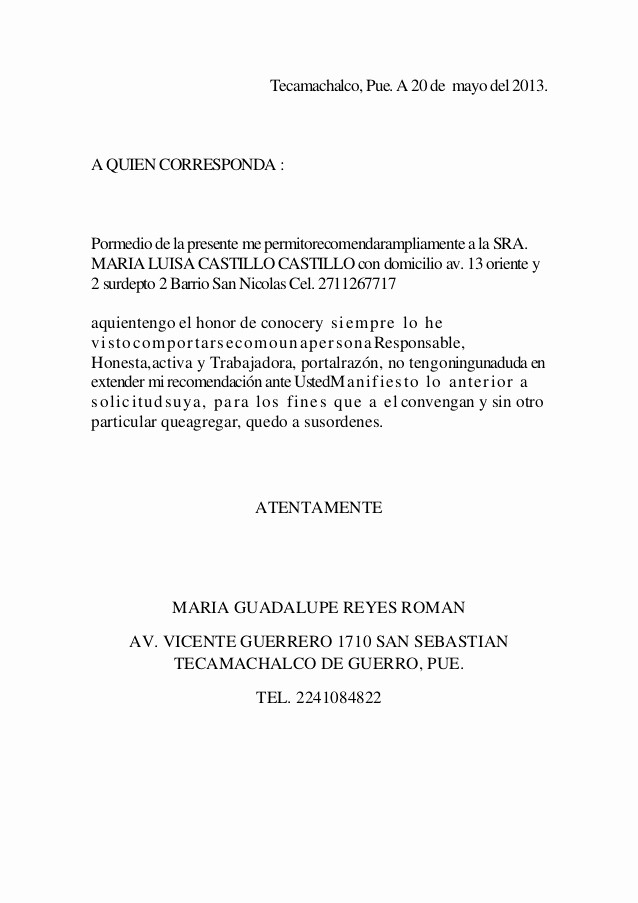 Carta De Recomendacion Personal Ejemplo Inspirational Carta De Re Endacion