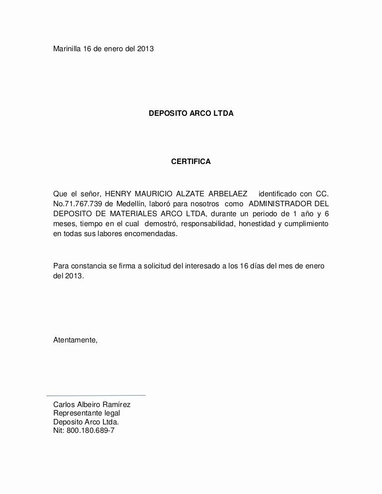 Carta De Recomendacion Personal Ejemplo Lovely Certificado Laboral