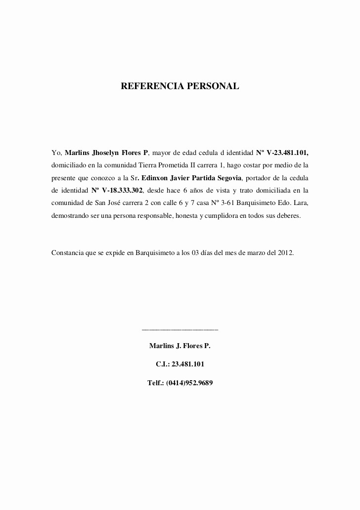 Carta De Recomendacion Personal Ejemplo Lovely Referencia Personal