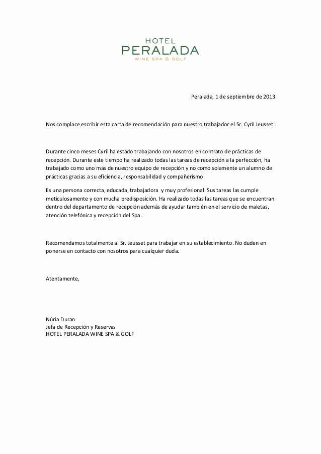 Carta De Recomendacion Personal Ejemplo Unique Carta De Re Endacion Cyril Jeusset
