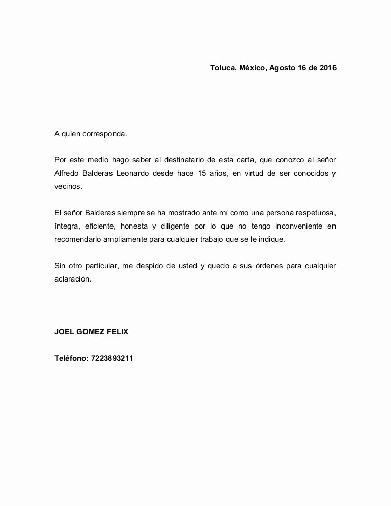 Carta De Recomendacion Personal Ejemplo Unique Carta De Re Endacion Personal