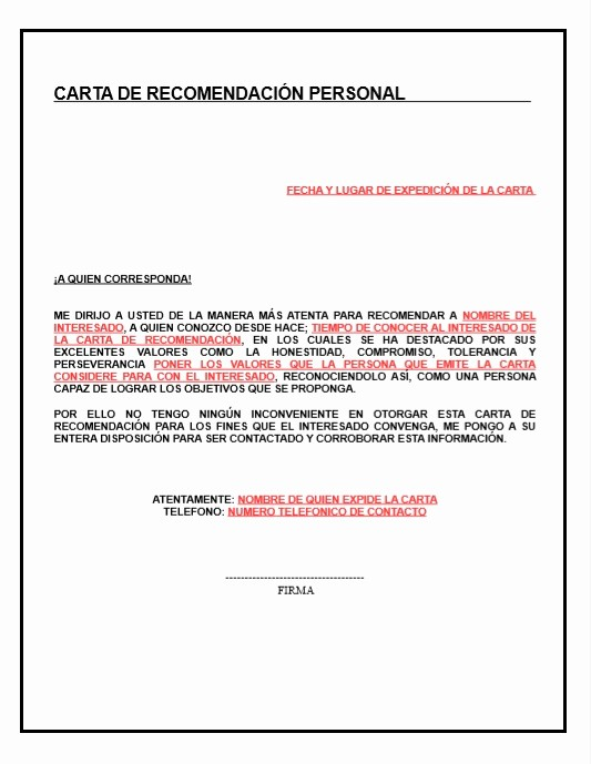 Carta De Referencia Personal Ejemplo Awesome Carta De Re Endacion Personal Descripcion