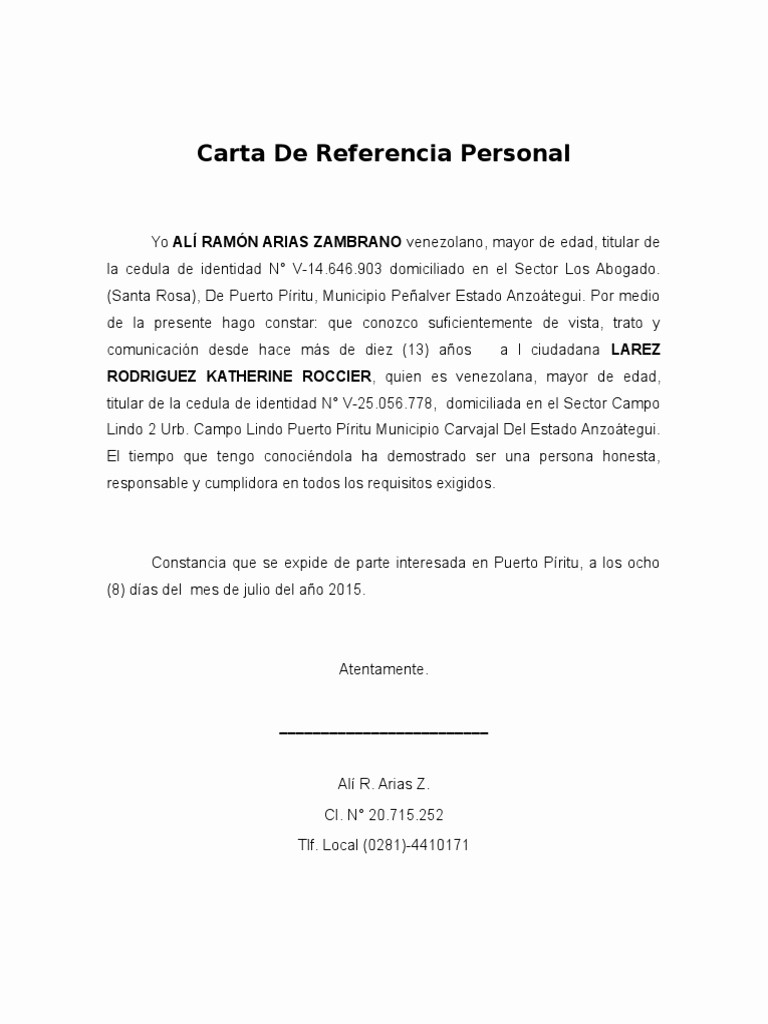 Carta De Referencia Personal Ejemplo Awesome Carta De Referencia Personal