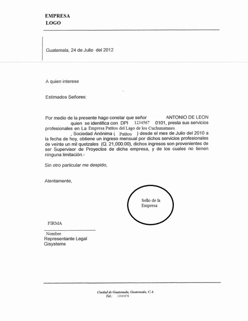 Carta De Referencia Personal Ejemplo Awesome Modelo De Carta Laboral Ejemplos De