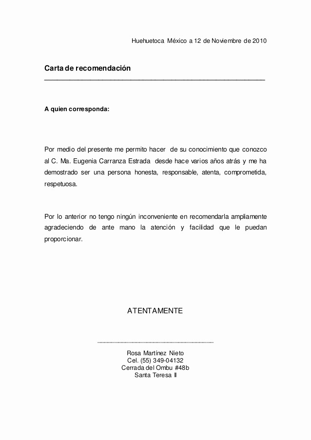 Carta De Referencia Personal Ejemplo Inspirational Carta De Re Endacion