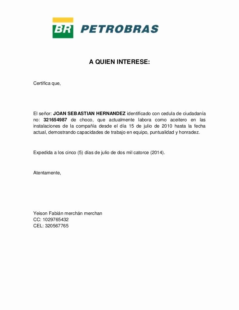 Carta De Referencia Personal Ejemplo Lovely Certificacion Laboral 2