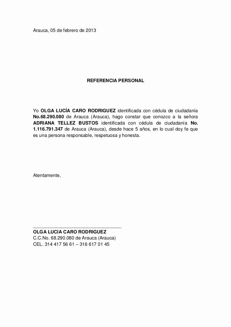 Carta De Referencia Personal Ejemplo Luxury Referencia Personal