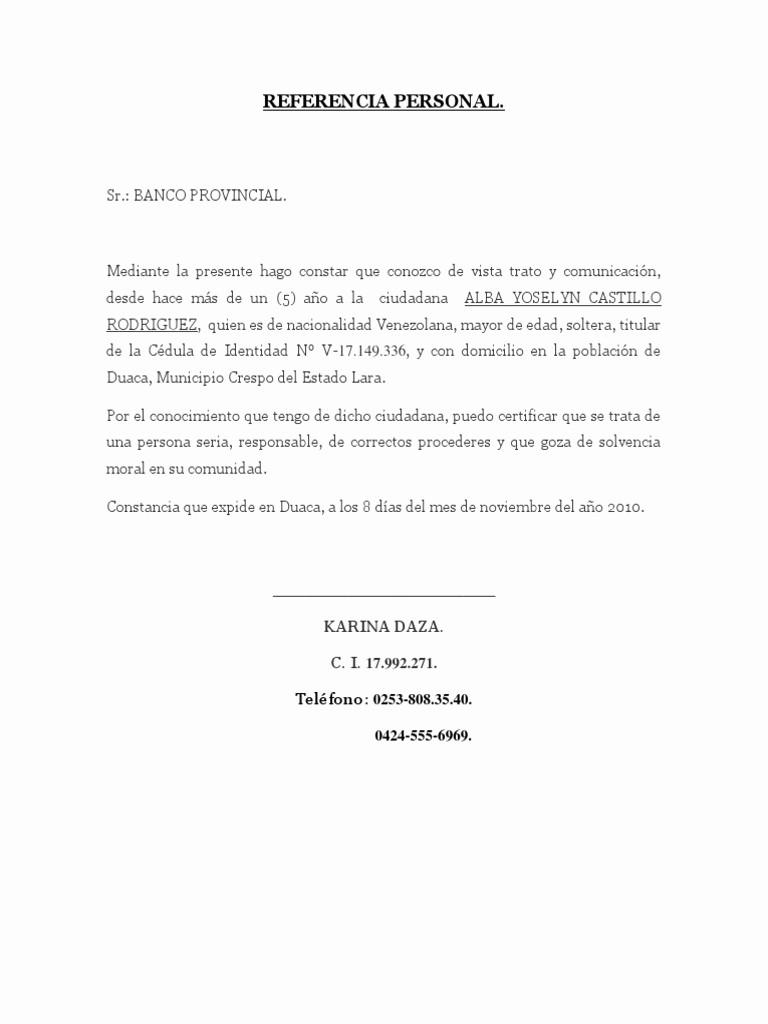 Carta De Referencia Personal Ejemplo New Referencia Personal