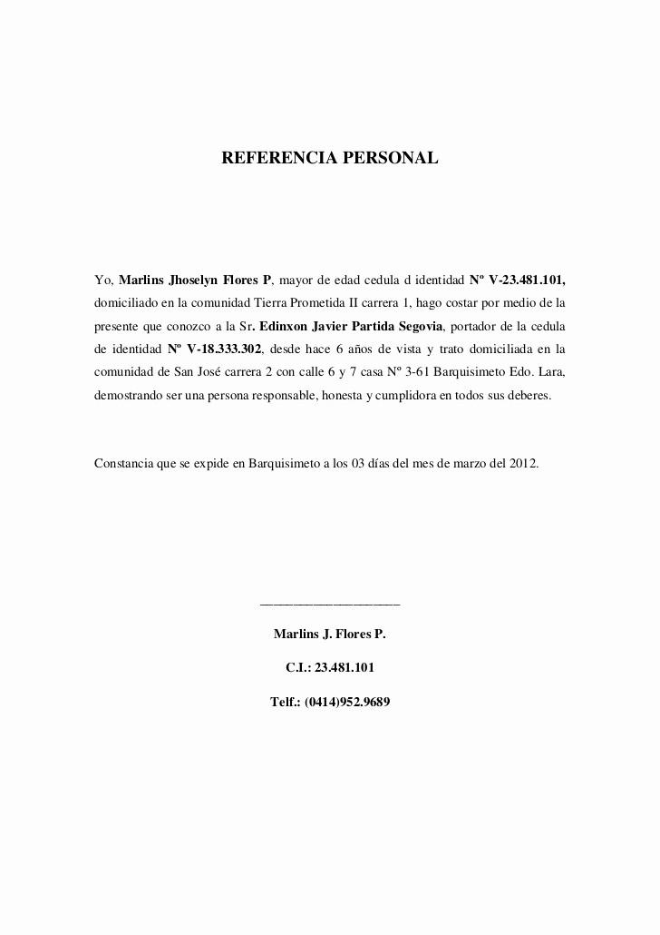 Carta De Referencia Personal Ejemplo Unique Referencia Personales Imagui