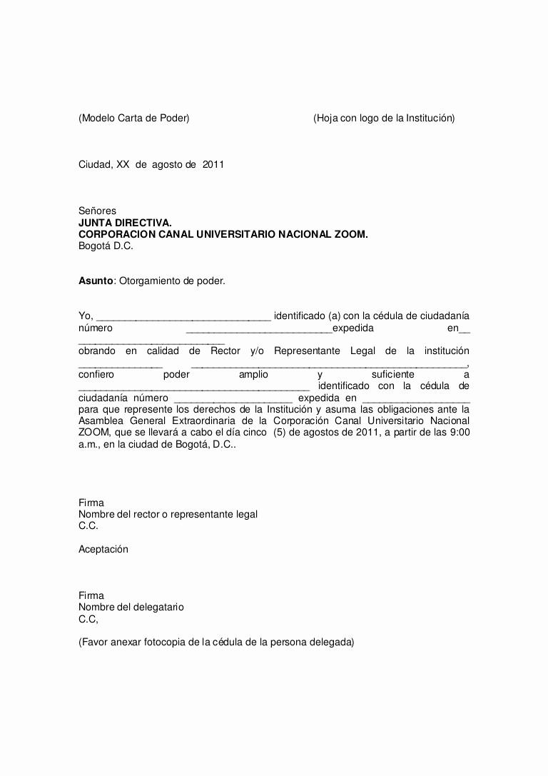 Carta Dirigida A Una Autoridad Awesome Modelo Carta De Delegación
