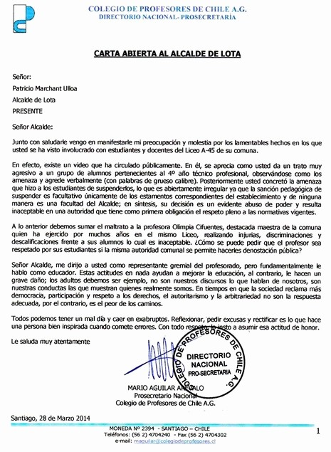 Carta Dirigida A Una Autoridad Elegant Pressenza Dirigente Nacional Colegio De Profesores De