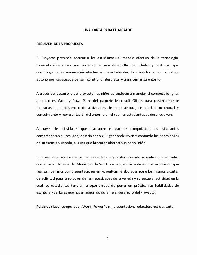 Carta Dirigida A Una Autoridad Elegant Proyecto De Aula Una Carta Para El Alcalde