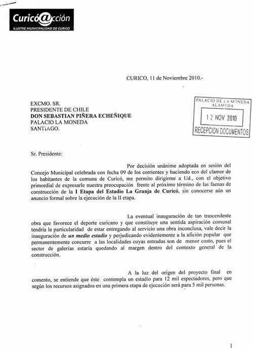 Carta Dirigida A Una Autoridad Fresh Innumerables Gestiones Realiza El Alcalde De Curicó Para