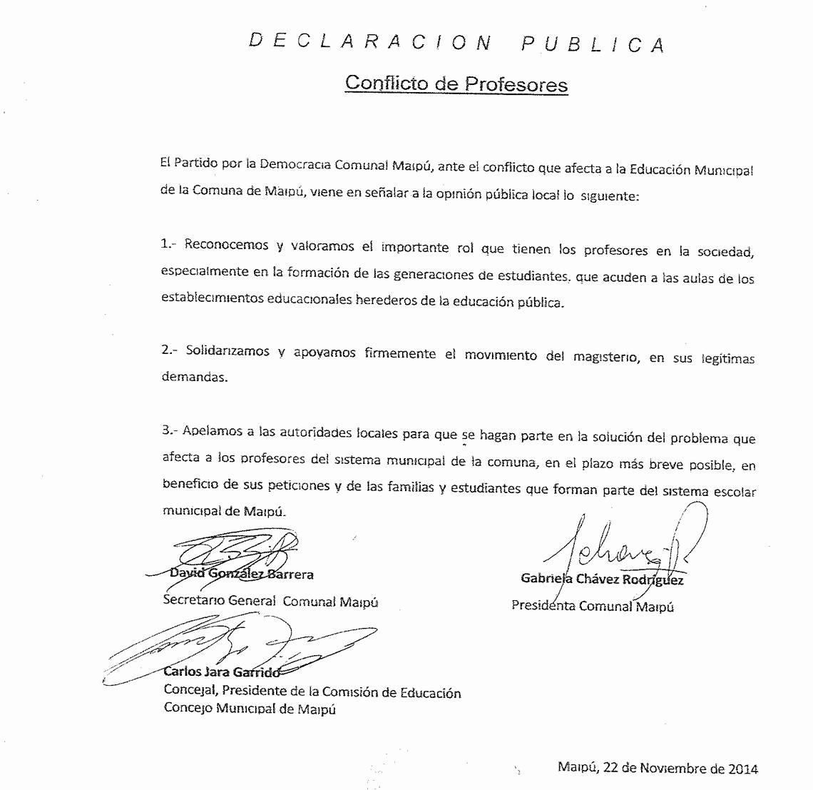 Carta Dirigida A Una Autoridad Fresh Ppd Maipú Se Pronuncia sobre Movilización De Profesores Y