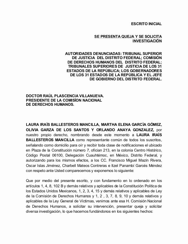 Carta Dirigida A Una Autoridad Inspirational Queja Ante La Cndh Por El Caso Góngora