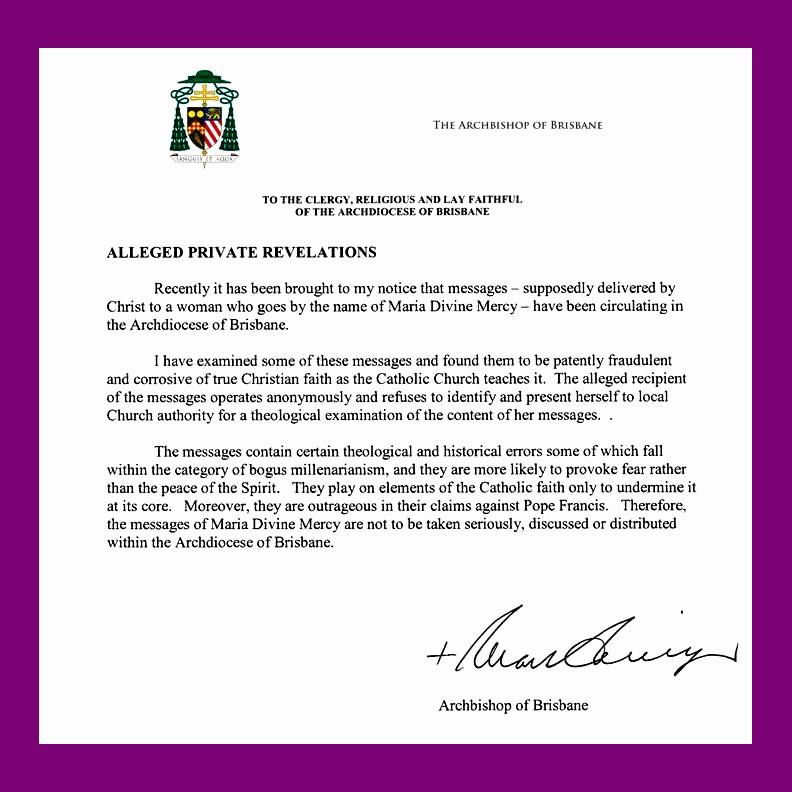 Carta Dirigida A Una Autoridad Inspirational También Algunos Obispos Han Hablado sobre Maria Divine Mercy