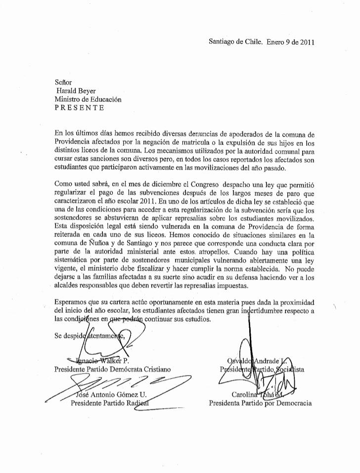 Carta Dirigida A Una Autoridad Lovely Carta A Ministro De Educación