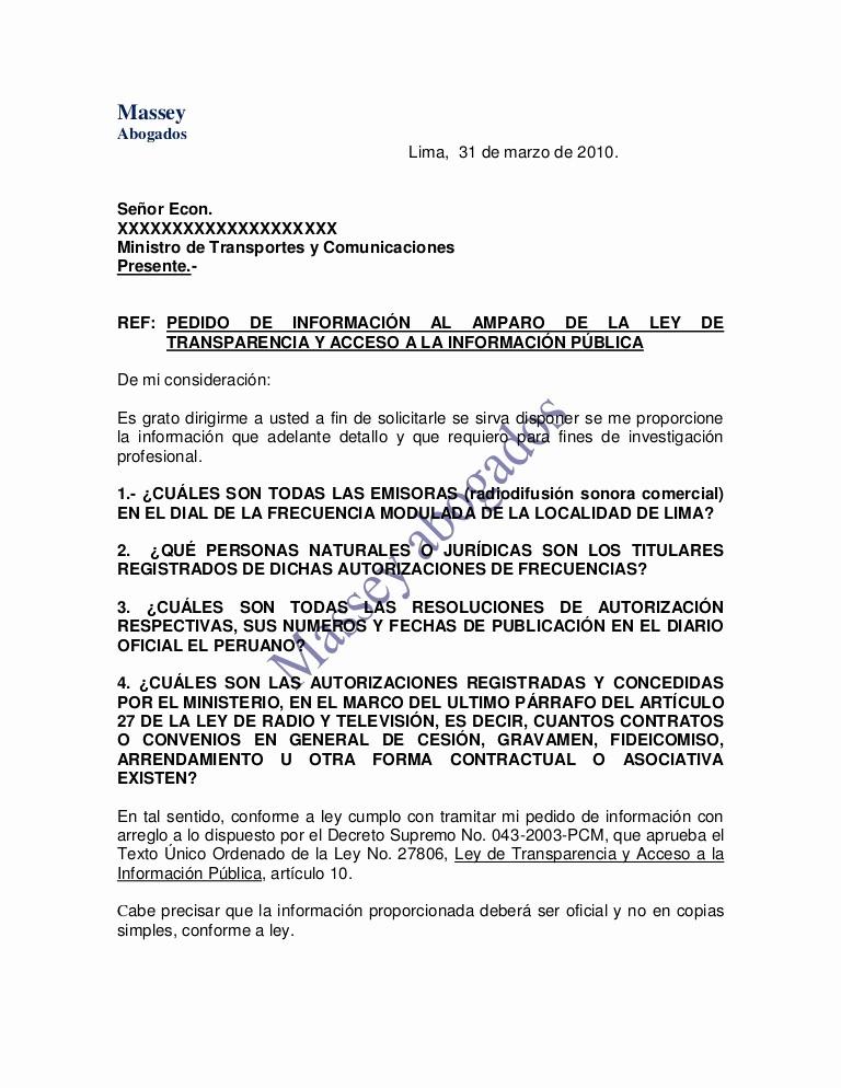 Carta Dirigida A Una Autoridad Lovely Modelo De Carta De Pedido De InformaciÓn Al Amparo De La