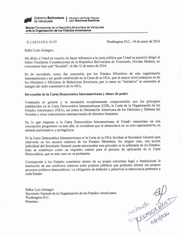 Carta Dirigida A Una Autoridad Luxury Carta De Embajador De Venezuela Ante La Oea A Luis Almagro