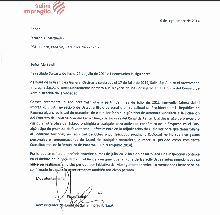 "Carta Dirigida A Una Autoridad Luxury Ricardo Martinelli On Twitter ""carta De Impregilo"