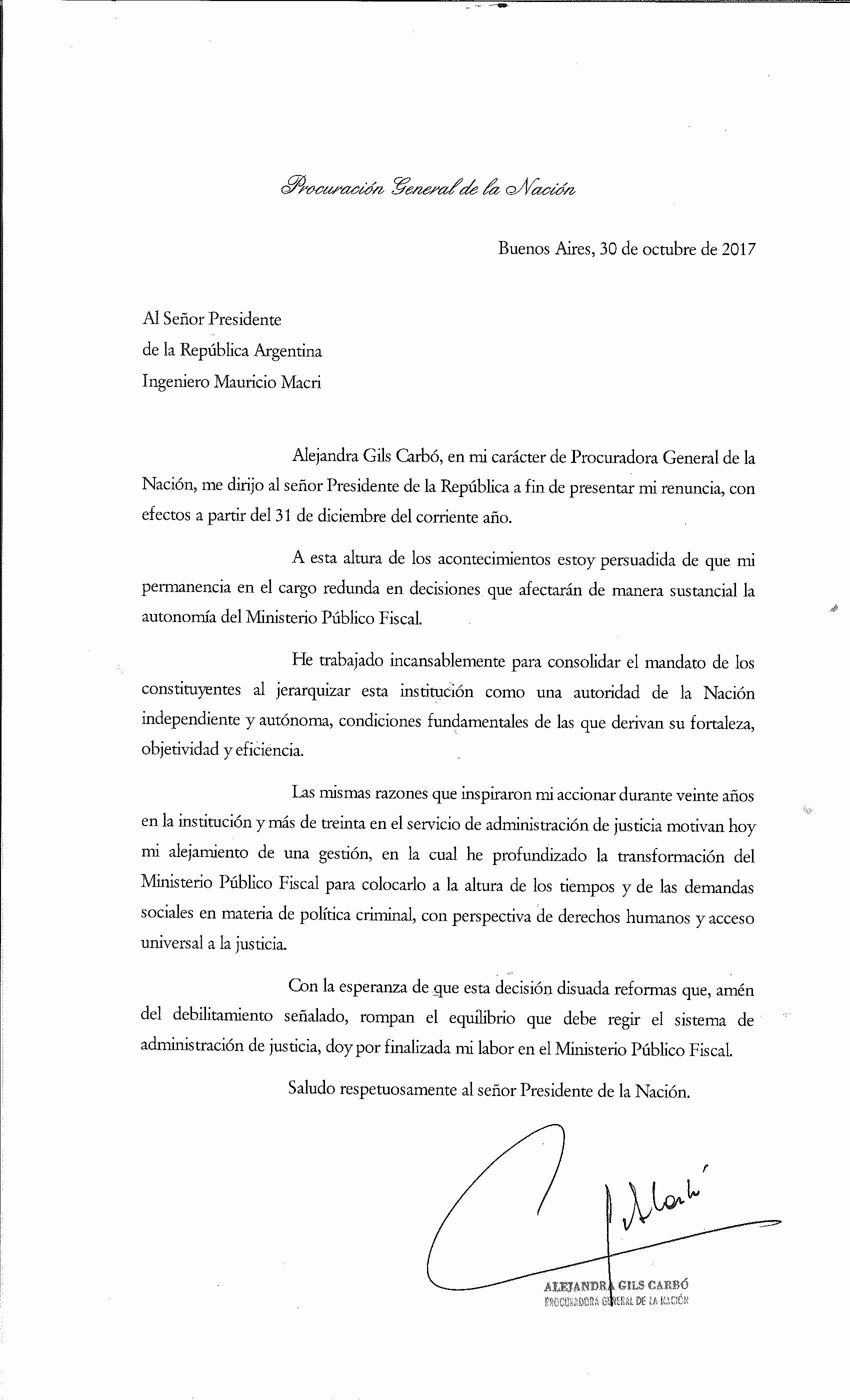 Carta Dirigida A Una Autoridad New Argentina En Una Carta Dirigida A Macri Renunció La