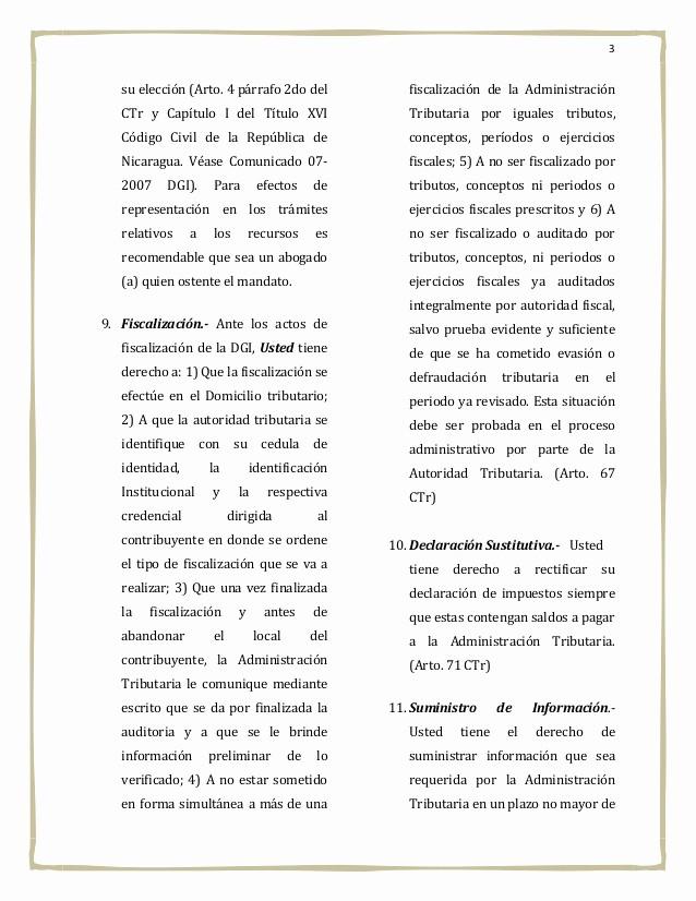 carta de derechos del contri ente nicaraguense
