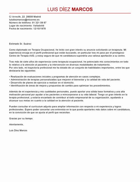 Carta Dirigida A Una Autoridad New Modelo De Carta De Presentación Terapeuta Ocupacional