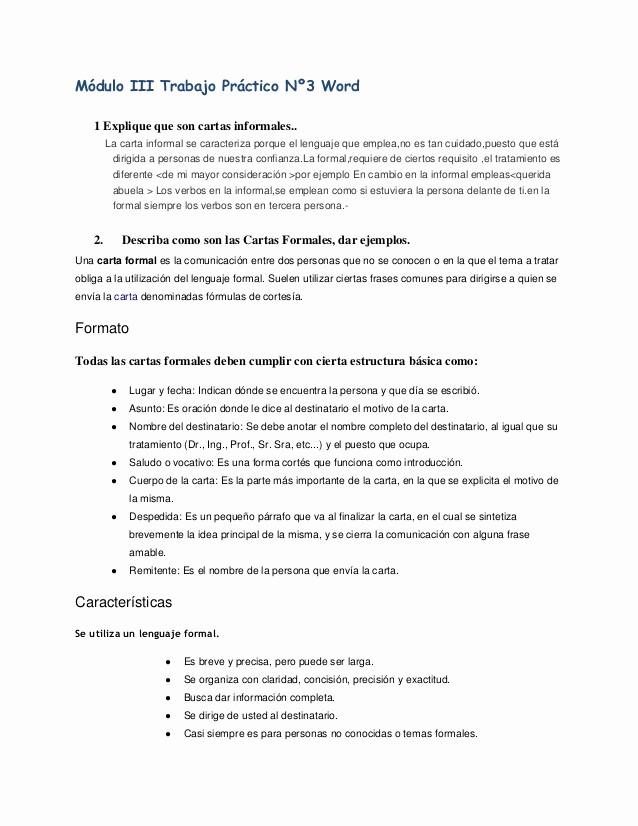 Carta Dirigida A Una Autoridad Unique Trabajo Practico N° 3
