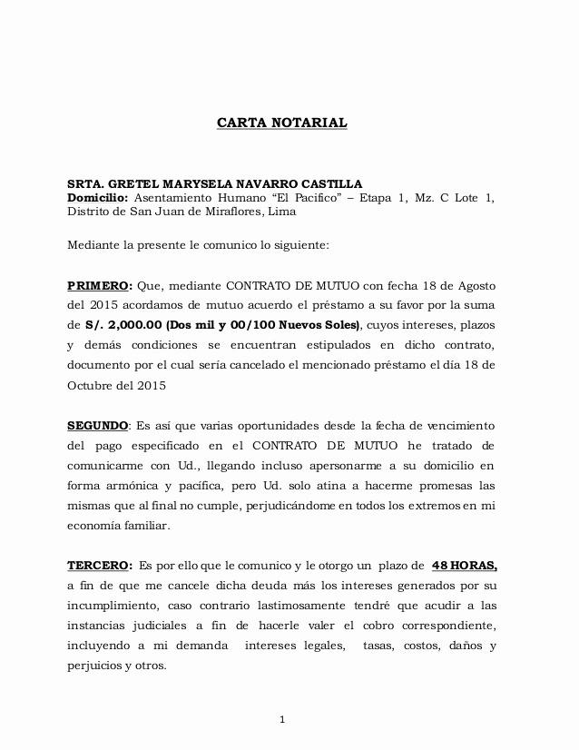 Carta Para Cobrar Una Deuda Beautiful Carta Notarial Suma De Dinero Aquiles Anaya Espiritu