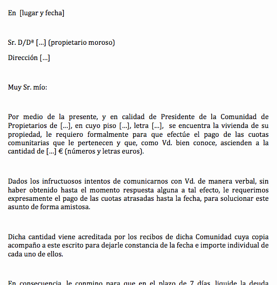Carta Para Cobrar Una Deuda Best Of Carta Para Reclamar A Propietario Moroso El Pago De La