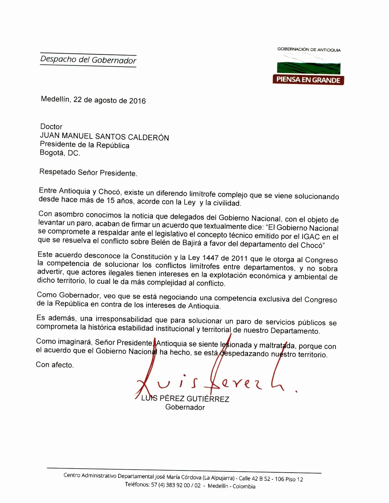 Carta Para Cobrar Una Deuda Elegant Gobernador De Antioquia Rechazó Respaldo Del Gobierno A