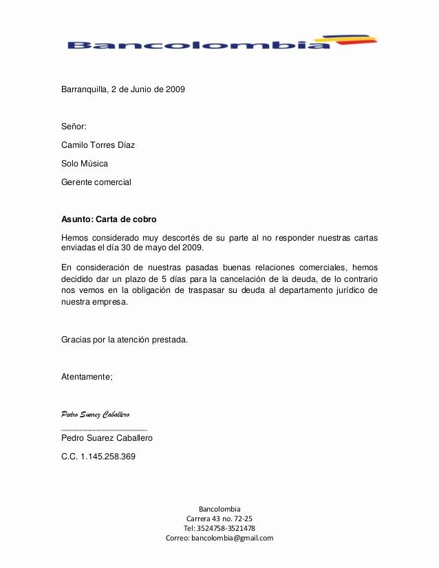 Carta Para Cobrar Una Deuda Inspirational Carta De Cobro