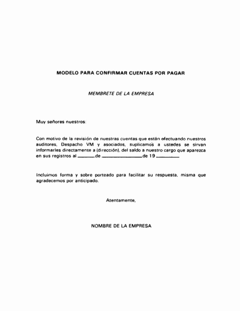 Carta Para Cobrar Una Deuda Lovely Modelo De Carta Para Confirmar Cuentas Por Pagar